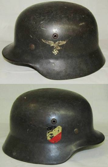 "Early WW2 Luftwaffe Double Decal M35 Helmet-ET66 1st Pattern ""Snake Leg"" Eagle"
