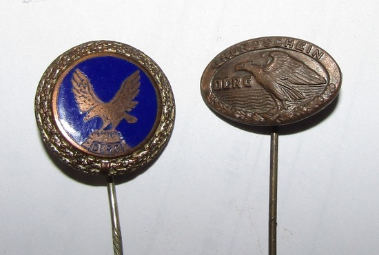 2pcs-Scarce WW2 Period  D.L.R.G. (German Life Saving Association) Stickpins