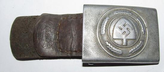Early WW2 RAD Belt Buckle For Enlisted With Leather Tab