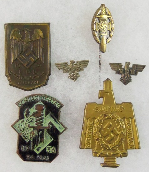 6pcs Misc. WW2 German Pins/Rally Badges/Stickpin