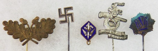5pcs-WW2 German Stickpins/RLB, Swastika, Etc.-Stenographer Pin