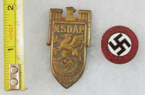 2pcs-1933 NSDAP Gautag-NSDAP Party Pin