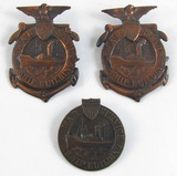 3pcs-WW1 Period War Service Ship Building Badges-Numbered