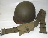 WW2 U.S. M1 Helmet Liner By MSA-Web Belt With Bandage Pouch