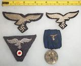 4pcs-WW2 Luftwaffe Breast/Cap Eagles-4yr Service Medal