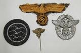 4pcs-Kriegsmarine NCO Breast Eagle-Landwacht (Home Guard) Polizei-NSFK  Insignia
