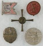 5pcs-Misc. WW2 German Rally Badges-Pins