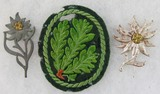 3pcs-Metal Edelweiss Insignia-Heer Jager Troops Sleeve Patch