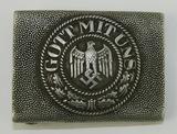 Early Heer Pebbled Aluminum Belt Buckle-Scarce Maker Gebr. Kugel & Fink