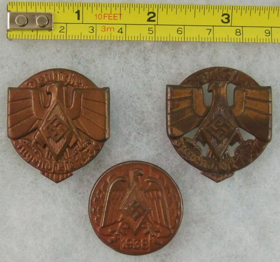 3pcs-WW2 Hitler Youth Rally Badges-Scarce Variant