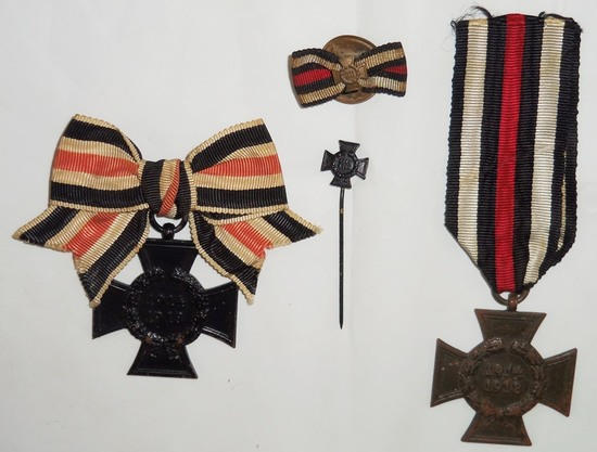 4pcs-WW1 Honor Crosses-Button Ribbon-Stickpin