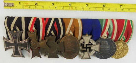WW1/WW2 German 7 Place Parade Mount Medal Bar