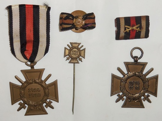 5pcs-WW1 German Honor Crosses W/Swords-Ribbons-Stickpin