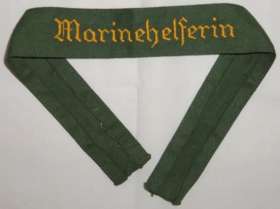 "Scarce WW2 Kriegsmarine Female Auxiliary ""Marinehelferin"" Cuff Title-Coastal Artillery?"