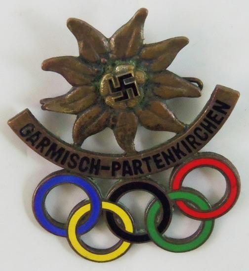 Garmisch-Partenkirchen Badge W/Enamel Olympics Rings-Edelweiss-Maker Marked