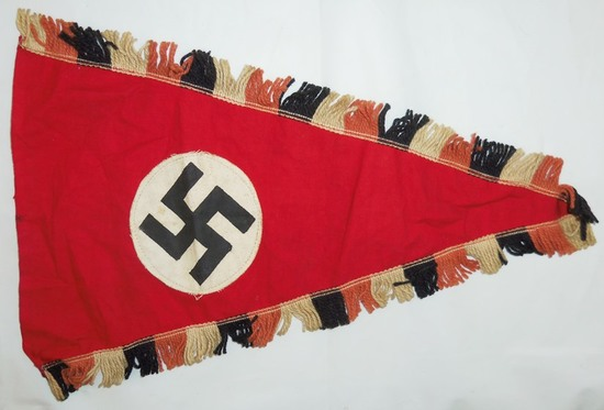 Early NSDAP Pennant-Double Sided-Wool Fringe