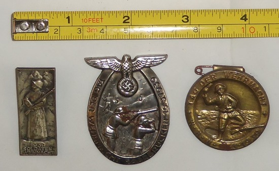 3pcs-WW2 German Wehrmacht Rally/Meeting Badges
