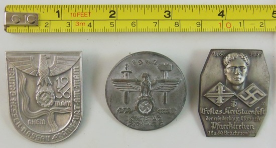 3pcs-WW2 NSDAP Rally Badges