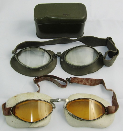 2 Pair Of WW2 German Fighter Pilot Goggles With One Storage Can