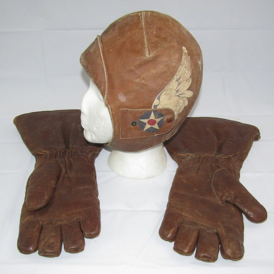 Early Aviation Leather Pilot's Flight Cap/Leather Gloves-Attributed To Ormer Leslie Locklear