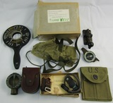 Lot U.S. Airborne/Signals Related Items-Pigeon Vest-Compasses Etc.
