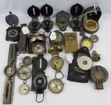 22pcs-Misc Military and Non Military Compasses-WW2 German Marching Compass.
