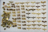 65pcs-WW2 US Army Air Forces Officer's Winged Prop & U.S. Collar Insignia