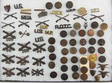 75+ Pieces U.S. WW1 Officer's/Enlisted Misc. Collar Insignia