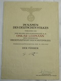 WW2 Nazi Police Officer Promotion Document With Original Himmler Signature