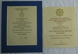 2pcs-German Cross In Gold Accolade/Award Document With Original Field Marshal Keitel Signature