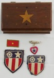 5pcs-WW2 CBI Theater Patches-Wood Souvenir Box-Son In Service Pin-Japanese Collar Tab
