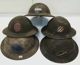 5pcs-WW1 US Doughboy Helmets With Period Painted Division Insignia