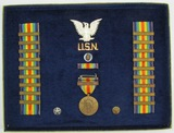 WW1 United States Navy Framed Victory Medal/Victory Medal Ribbon Campaign Clasps Display