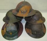 5pcs-WW1 US Doughboy Helmets With Period Painted Division Insignia And/or Camo