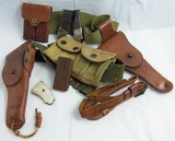 Post WW1/Pre WW2 Holster Belt Rig-.45 Pistol 2 Tone Clips-Mother of Pearl Pistol Grips