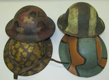 4pcs-WW1 US Doughboy Helmets With Period Painted  Camo