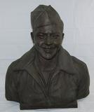 Large Bronze Sculpture Bust Of USAAF Airman-KIA Tokyo 1945