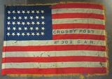 Original 38 Star U.S. Flag From G.A.R. Post-All Hand Stitched-Rare Star Configuration