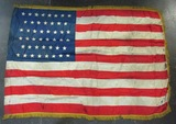 46 Star U.S. Flag-Embroidered Silk With Fringe