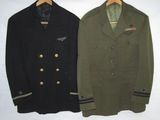 2PCS-WWII USN Pilot Tunics-Bullion Wings-One is Named-One Has Squadron Pin