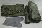 3pcs-Vietnam War Period U.S. Shelter Half-Flying Gloves-Nylon Poncho