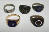 5pcs-WW1 U.S. Veteran Rings-AEF-Coastal Artillery