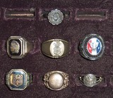 7pcs-Misc Vintage Rings-Eagle & Girl Scout-Suicide Ring Etc