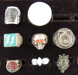 8pcs-Misc Vintage Rings-1939 San Fran Exposition-FFA-City Of Pittsburg Etc