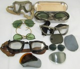 Lot Misc. WW2 U.S. Pilot Goggles-American Optical-AN6530-Aviator Sunglasses Etc.