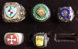 5pcs-Misc WW2 Period Soldier Rings-45th Division-Picture Ring Etc.