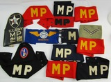 13pcs-WW2/Korean War Period MP-Observer Armbands