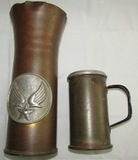 2pcs-WW2 Shell Trench Art-AAF North Africa Campaign Vase-Trench Art Mug