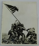 Scarce Early Press Photo Of Iwo Jima Flag Raising With Reverse Rosenthal Credit Stamping