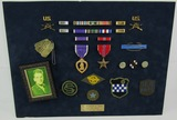 WW2 Named  U.S. Officer Mounted Medal/Insignia Grouping-Battle Of The Bulge-99th Division